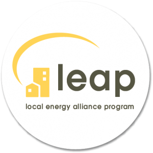 LEAP logo in circle